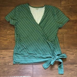 Loft Green striped Faux Wrap Side Tie Top